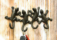 """Cast Iron Rustic Animal Reptile Gecko Lizards Tails 4 Pegs Quad Wall Hooks 9""""W"""
