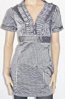 RW & CO Brand Navy Silver Striped Short Sleeve Shirt Dress Size L BNWT [ss70]