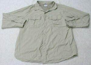 Columbia Beige Two Pocket Dress Shirt Long Sleeve Man's 2XL XXL Top Omni-Shade