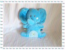 B - Doudou Peluche Quasi Plat Eléphant Bleu Nicotoy