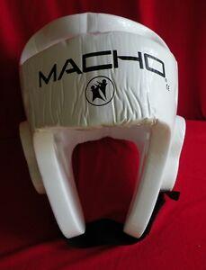 Boys MACHO Martial Arts Sparring Helmet Head Gear WHITE Large Karate Tae Kwon Do