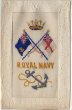 R. Tuck WW1 Rare Embroidered Silk Postcard UK Royal Navy Flags Crown & Anchor