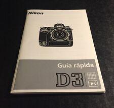 Genuine Nikon D3 DSLR Camera - User's Quick Start Guide - Spanish Version