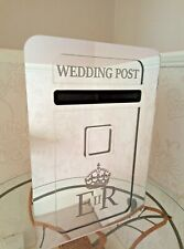 Large Wedding Post Box, Personalised Mirror Acrylic - Lockable 490x320x290mm