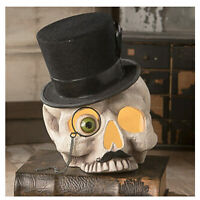 "8"" Bethany Lowe Mr. Hollow Skeleton Skull Top Hat Halloween Figurine Home Decor"