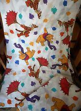 Vtg Curtain Valance Disney Winnie The Pooh Fabric Bright Colors Leaves & SHAM