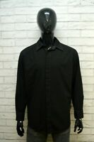 VERSACE JEANS Camicia Nera Uomo Taglia 48 / 50 Maglia Manica Lunga Shirt Man