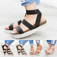 Womens Elasticated Platform Espadrilles Sandals Ladies Casual Shoes Size 6-9.5