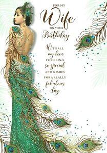 Art Deco - Wife - Glittered & Foiled Birthday Card