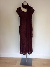 PHASE EIGHT BURGUNDY/WINE  NET OVERLAY APPLIQUÉ TRIM DRESS & WRAP SIZE 10