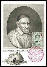 FRANCE MK 1958 ROTES KREUZ VINCENT DE PAUL CARTE MAXIMUM CARD MC CM an08