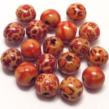 Lot Mélange 100 Perles Bois Décorées 12mm Création de Bijoux et Loisirs créatifs