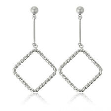Platinum Pltd Open Square Hoop Twist Dangle Drop Earrings New - UK Seller -90
