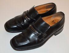 Men's Black Leather Loake Slip On Loafers Shoes Smart UK 7.5 Metal Buckle