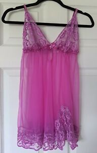 Frederick's Of Hollywood Sheer Gauzy Purple Babydoll w Lace Lingerie - Size M