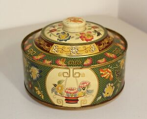 Vintage Decorative Metal Tin Box with Lid, Round Floral