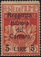 ✔️ FIUME 1920. 5L, Sassone 145 MH*