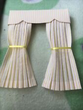 Pretty 1/12 Scale Dolls House Curtains - Yellow Stripe