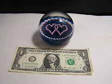 Caithness LuckenBooth Blue Entwined Hearts Millefiori Art Glass Paperweight RARE