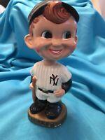 VINTAGE 1960s MLB NEW YORK YANKEES BASEBALL BOBBLE HEAD PINSTRIPES w/GOLD BASE