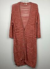 Moth Anthropologie Linen Long Knit Cardigan Coral Women's Sz L Made In Italy