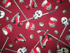 HOCKEY GEAR STICKS GLOVES SKATES BURGANDY COTTON FABRIC FQ