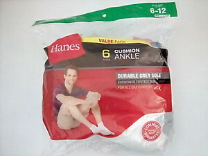 Hanes Men's Cushion Ankle Socks, White, Shoe Size 6-12, 6 pair only $12.99