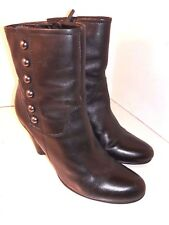 ECCO Black Leather Ankle Boots Chukka Side Zipper Womens Size 40