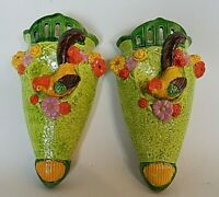 Pair of 2 Vintage Wall Pockets Tropical Bird Green Vase MADE IN JAPAN 7.5""