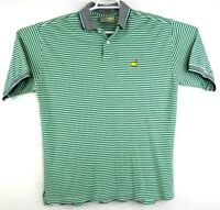 Masters Augusta National Mens Green and White Striped Golf Polo Shirt Size Large