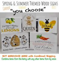 "Wood Sign Lemon Carrot Queen Bee Summer *complements Rae Dunn* ""YOU CHOOSE""20"