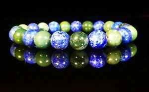 Lapis Lazuli Bracelet Green Moss Agate Natural Precious Stone 8mm