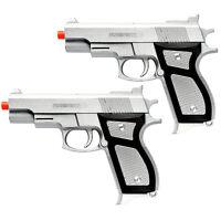 2 x Training Spring Pistol Handgun Sidearm Silver Starter Airsoft Hand Gun M777S