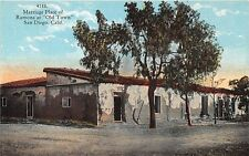 """SAN DIEGO CA MARRAGE PLACE OF RAMONA AT """"OLD TOWN"""" POSTCARD c1930s"""