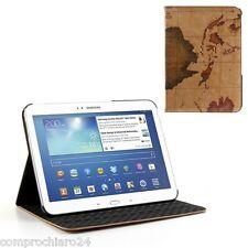 Custodia Pieghevole Stampa Mondo in Ecopelle per Samsung Galaxy Tab 3 10.1