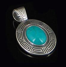 HUGE Sterling Silver Natural Blue Turquoise Pendant