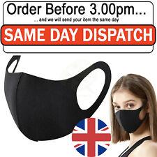 Face Mask Covering Protective Washable Reusable Black Adult Unisex UK 1/2/3/5 PC