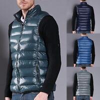 Men's Duck Down Vest Ultralight Sleeveless Jacket Stand Collar Large Size Vest