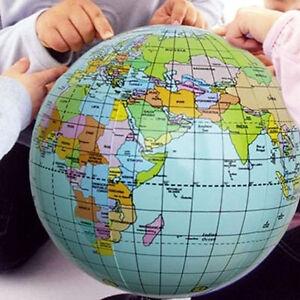 38cm Inflatable World Globe Earth Map Kids Teaching Geography Map Beach Bal V3O2
