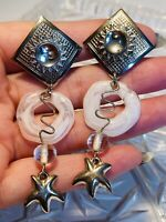 VTG Statement Earrings Huge Dangle Cabochon Star Hoop Lucite Runway Clip Pop Art