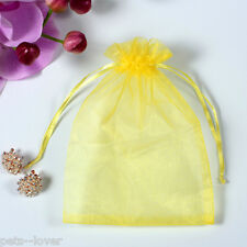 UK Luxury Organza Gift Bags Jewellery Pouch Xmas Wedding Party Candy Favour 19 Yellow 7x9cm 25
