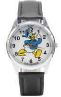 Disney's Donald Duck Black Genuine Leather Band Wrist Watch