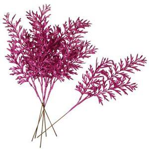 Factory Direct Craft Fuchsia Glitter Leaves Sprays   Set of 6