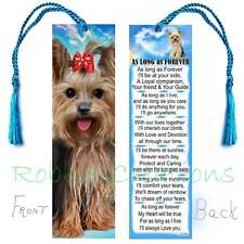 """YORKSHIRE TERRIER BOOKMARK """"AS LONG AS FOREVER"""" Art Yorkie Dog Poem Perfect GIFT"""