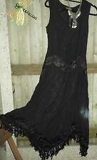 HipPY Goth Gypsy Boho WICCA BLACK HOLY CLOTHING Pixie Zig Zag Dress L New RARE