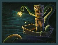 Octopus Cephalopod Ocean Tiki Art Boat Lowbrow Pop Tiki Bar Man Cave Print