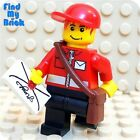 M008M Lego Mail Carrier Minifigure with Envelope Pattern NEW