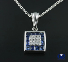 """Natural 1.50 Ct Diamond Sapphire Pendant Necklace 14K White Gold With 16"""" Chain"""