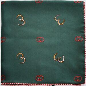 New Auth GUCCI GG LOGO HORSESHOE Print 100% SILK Pocket Square Handkerchief