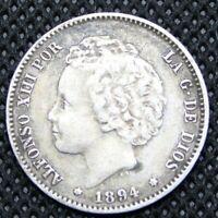 1894 Spain 1 One Peseta Rare - Spanish Silver Coin KM 702